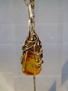 Antique, handmade amber pendant on necklace, Gdansk circa 1940