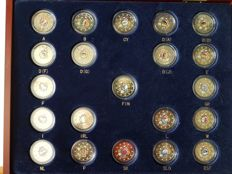 """Europe – 21 x 2 Euros in colours ''10 years of Euro"""" in box."""