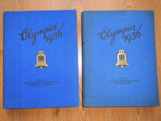 Third Reich Olympia 1936 anthologies  1 + 2 Berlin und Garmisch - Partenkirchen 1936 albums + 2 Olympia postcards