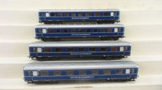 Liliput H0 - 83103/83203/83303/83503 - 4 express train carriages used on the 'Blauer Enzian' of the DB