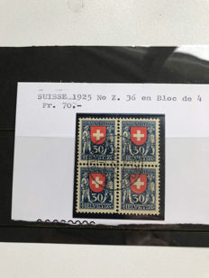 Switzerland 1934/1945 - Collection of blocks of four on insert cards