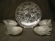 France Avesne - Art Deco pressed glass dish with 8 bowls