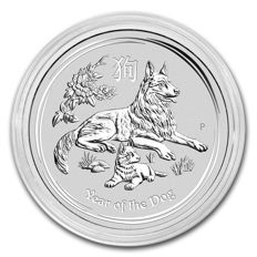Australia - Perth Mint - 1 oz 999 silver Lunar year of the dog 2018 - 999 fine silver