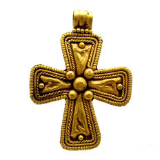 Medieval Gold Cross with Filigree - 32x22 mm