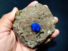 Fine Blue Cavansite crystal on matrix - 8.5 x 7.5 cm - 278 gm