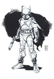 Bachs, Ramon F.  - Original Inked Drawing - Boba Fett - Star Wars