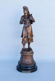F. Milliot - folklore sculpture - lady with a ukulele - Historicism period - ca. 1880