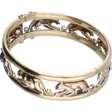 14 kt - Solid yellow gold bracelet tolled with tri-colour yellow/white/rose gold lionesses - 5.3 cm