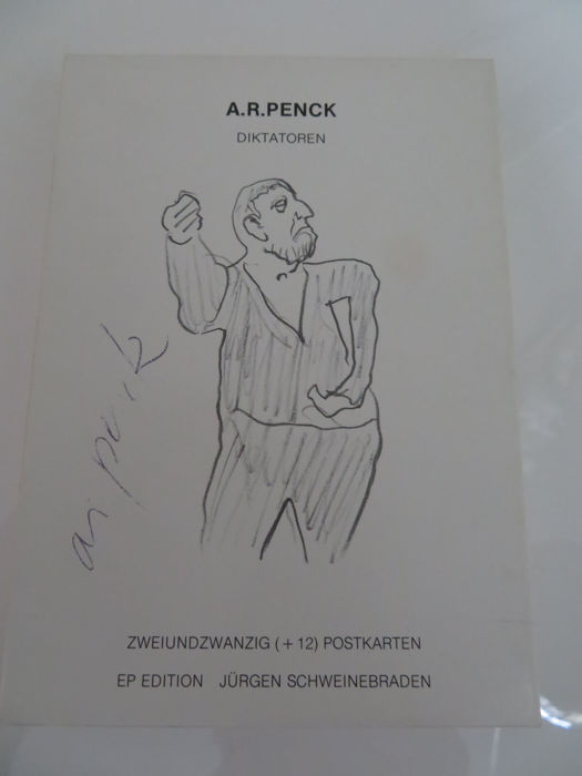 "A.R.Penck ""Diktatoren"" 22 + 12 postcards, signed on the card board lids"