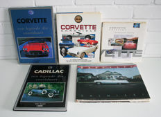5 car books about Chevrolet Corvette and Cadillac