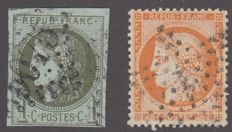 France 1870 - 1c olive cancelled with large numerals 5075 tlemcen and 40c orange variety 4 alterations - Yvert 38d and 39