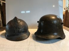 Lot of 2 military helmets one German and Adrian helmet M 1915