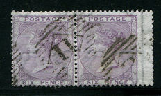 Great Britain 1855/57 – Queen Victoria – 6 pence lilac SG68 in pair Watermark Error