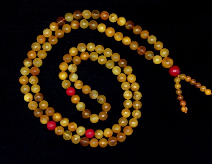 Natural new Baltic Amber lucky Mala yellow with red coral details round 108 beads, 56,3 gr.