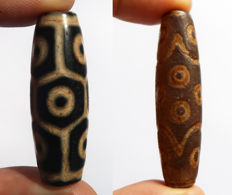 Two talisman beads in agate - 9 and 15 eyes - Tibet - Late 21st century