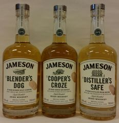 3 bottles - Jameson Whiskey in the Makers' series: The Blender's Dog + The Cooper's Croze + The Distiller's Safe