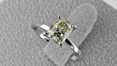 1.57 ct SI1 radiant solitaire diamond  ring 14 kt in white gold - size 6.5