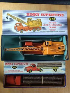 Dinky Supertoys-FR/GB - Scale 1/48 - Trekker Willème with Semi-Trailer Fardier No.36a and Coles 20 Ton Crane No.972