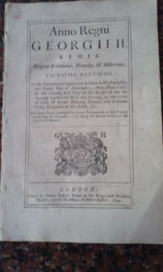 An act of Parliament from Great Britain pertaining to 'His Majesty's Navies, Ships of War and Forces by Sea' -  1749