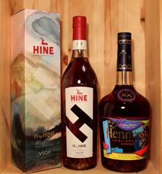 2 bottles Cognac: 1. H by HINE VSOP Cognac incl. limited original box + 2. Hennessy VS Cognac Collector's Edition from 2011, KAWS, 1 litre, 40%vol