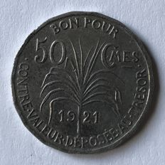Guadeloupe - 50 Centimes 1921 'Indian' - CopperNickel