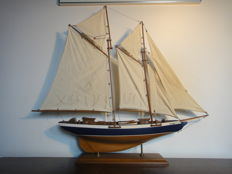 Sailing yacht - two master - beautiful shape - well built wooden model boat