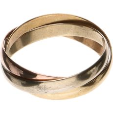 18 kt tricolour gold ring set of three – Ring size: