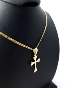 14 Ct gold Necklace with Cross Pendant - 45 cm