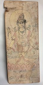 A Chinese Painted Wood Panel - H. 54 cm