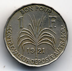Guadeloupe - 1 Franc 1921 'Indian' - CopperNickel