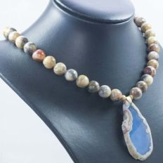 18 kt gold necklace with agate and central slice-shaped agate - 41 cm - No reserve price