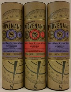 3 bottles - Douglas Laing Provenance: Fettercairn 8 years old + Mortlach 7 years old + Glengoyne 7 years old (all bottled in 2016)