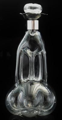 Unusual Silver Mounted Glass Decanter, Sheffield 1898, Roberts & Belk