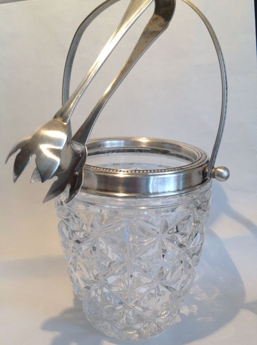 Ice bucket in crystal and 800 silver, with clamp also in 800 silver