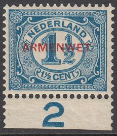 The Netherlands 1913 - Armenwet, with sheet error - NVPH D8 PM1, with inspection-befund