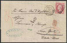 France 1867 - Napoleon 80c pink - letter for New York, USA - Yvert no 24.