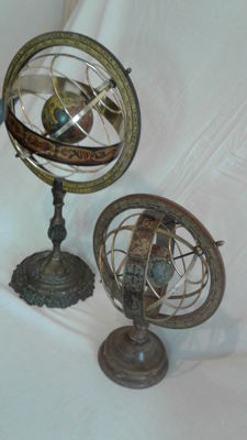 Armillary spheres with base, in bronze and wood