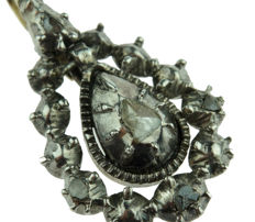 Silver and gold antique Victorian pendant, set with rose diamonds - 25 mm