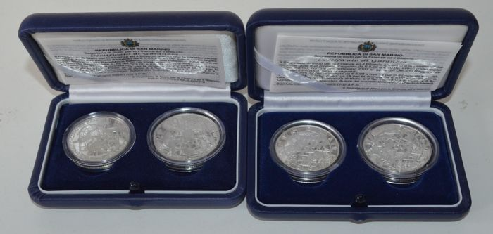 """San Marino - 5 and 10 Euro coins 2003 """"Olympic Games of 2004"""" and 2004 """"WC Football"""" - silver"""