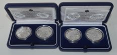 "San Marino - 5 and 10 Euro coins 2003 ""Olympic Games of 2004"" and 2004 ""WC Football"" - silver"