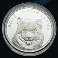 Belarus - 20 Roubles 2007 'Wolf' with swarowski crystals - 1 oz silver
