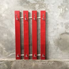 Manufacturer unknown - red, vintage wall coat rack