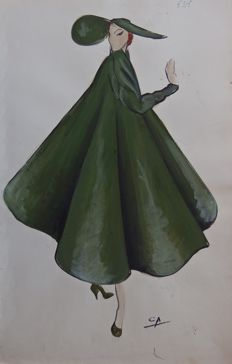 Pierre Cardin (attributed to) - Large pélerine volante et son chapeau assorti