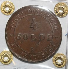 Papal State - 4 Soldi 1868. Year XXIII. Pope Pius IX - Copper