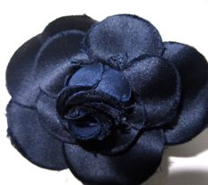 Chanel - very dark blue silk camellia brooch silver pin