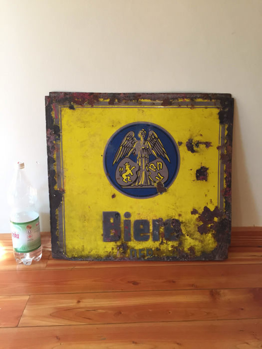 Very Large enamel BIERE DFR  unique antique beer advertising sign  Pre-war history of Germany pub bar restaurant collectible item