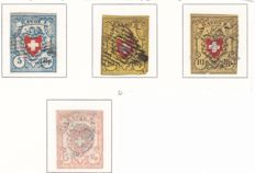 Switzerland 1850/1852 - Department stamps - SBZ 16 (2x), 17 II and 20