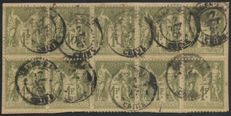China, French office 1891 - France no 82 block of 10, cancelled with postmark SHANGHAI (China) - Yvert no 82.