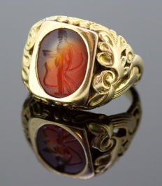 Antique 18K Roman Carnelian Seal Ring (200 BC) With Victorian (Circa.1880) Ring Shank
