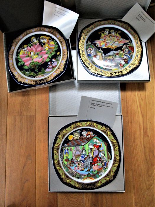 3 Rosenthal - limited edition Christmas plate 1992/93/94 - Björn Wiinblad - 1. Choice - original packaging